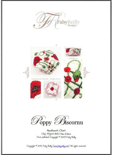 Poppy Biscornu pattern - Faby Reilly Designs