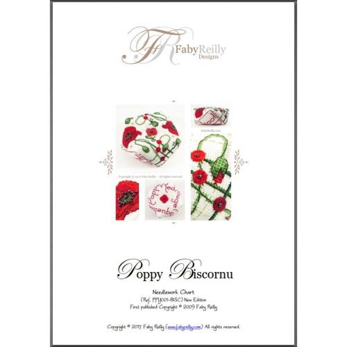 Poppy Biscornu pattern - Faby Reilly Designs