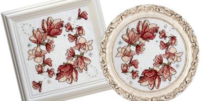 Magnolia Biscornu - Framed