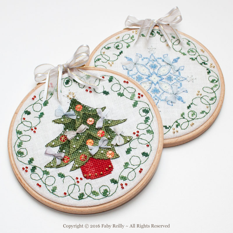 Tree and Snowflake Hoops - Faby Reilly Designs