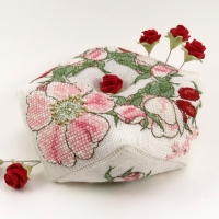 Wild Rose Biscornu as pin cushion