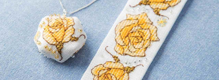 Yellow rose bracelet and pendant faby reilly designs yellow rose pendant faby reilly designs for just cross stitch magazine mozeypictures Images